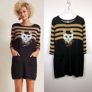 ModCloth   NWT Well Styled Feline Sweater Dress